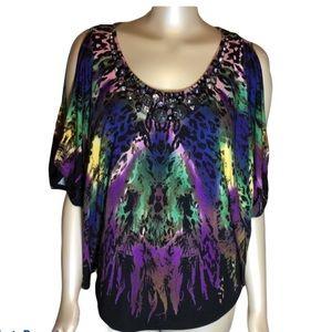 RAMPAGE multi color cold shoulder top